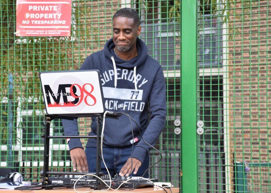 Man DJing at an event