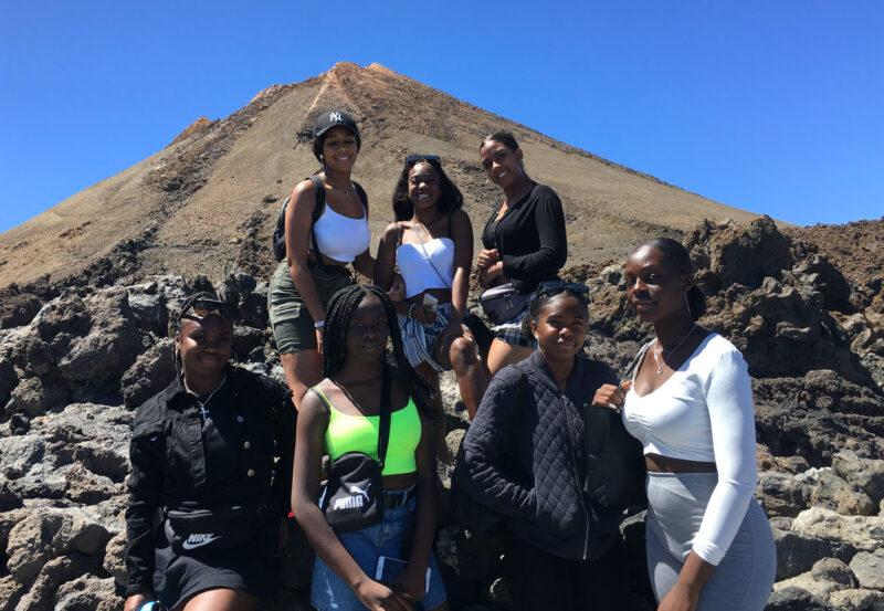 Seven girls in a group in Tenerife, Spain