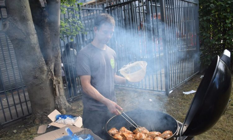 Member of the team doing the BBQ