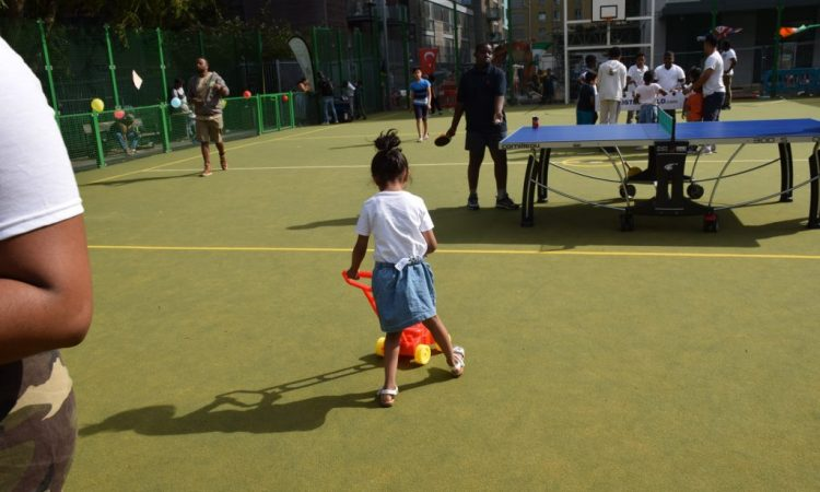 child playing in the multigames area