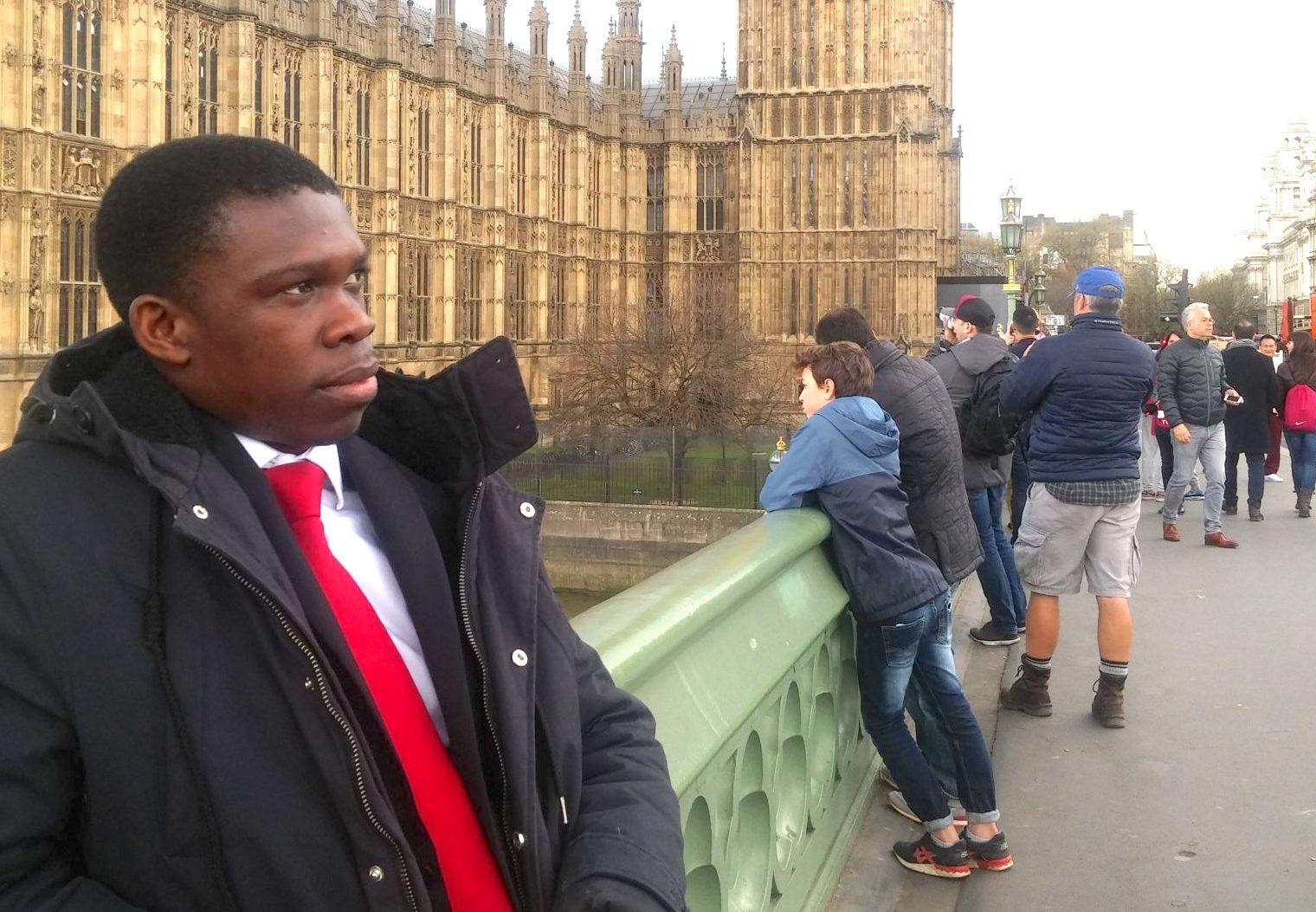 George stood in front of Big Ben
