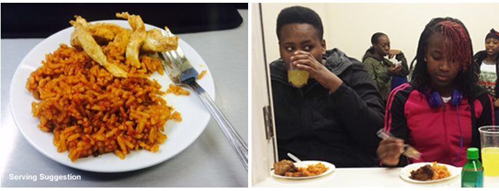 Young people eating jolloff rice