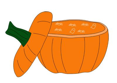 Illustration of a pumpkin cut open
