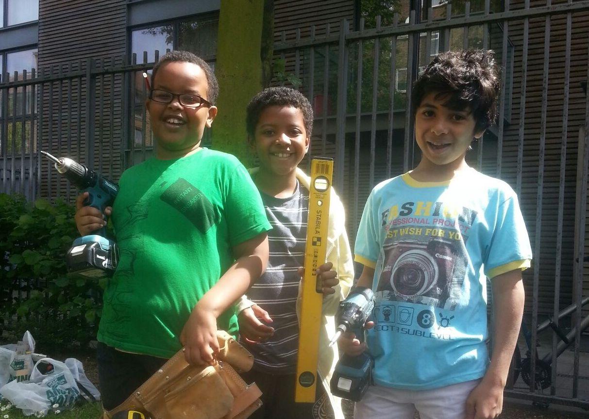 Three boys with DIY equipment