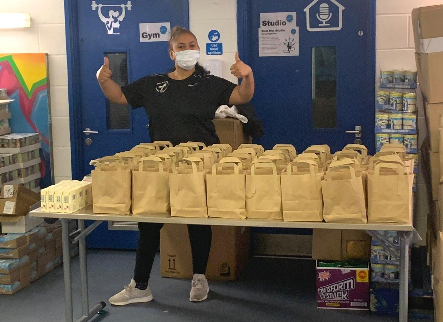 Food parcels for distribution during the pandemic